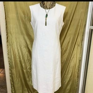 Nine West Sheath White Linen Dress 6-8